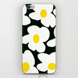 White Retro Flowers Black Background #decor #society6 #buyart iPhone Skin
