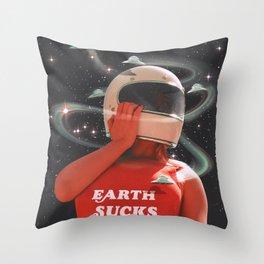 EARTH SUCKS Throw Pillow