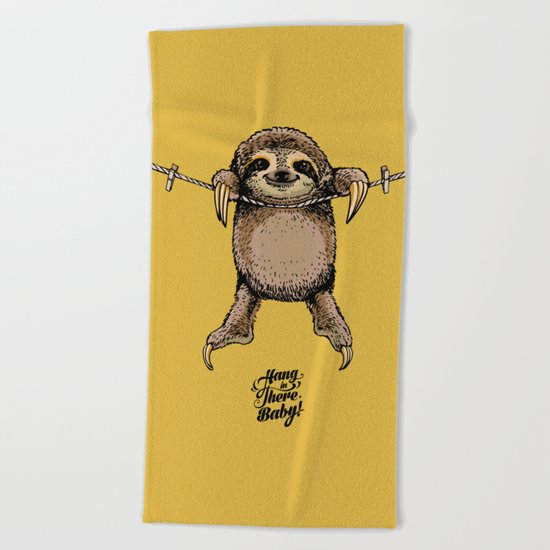 Hang in There Baby Sloth Beach Towel