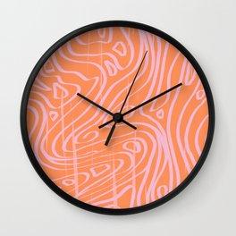 peachy lava print Wall Clock
