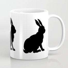 Black Silhouette Sitting Bunny Rabbit Polka Dots on White Coffee Mug
