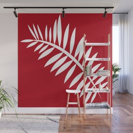 PALM LEAF RED AND WHITE PATTERN Wall Mural