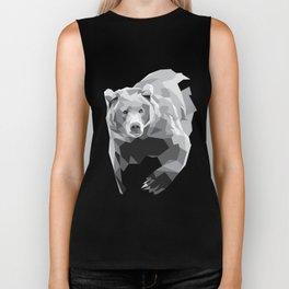 Geometric Bear on White Biker Tank