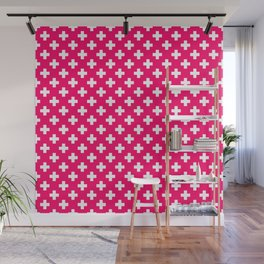 White Crosses on Hot Neon Pink Wall Mural