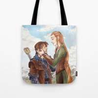 kili Tote Bags featuring Kili and Tauriel by CaptBexx