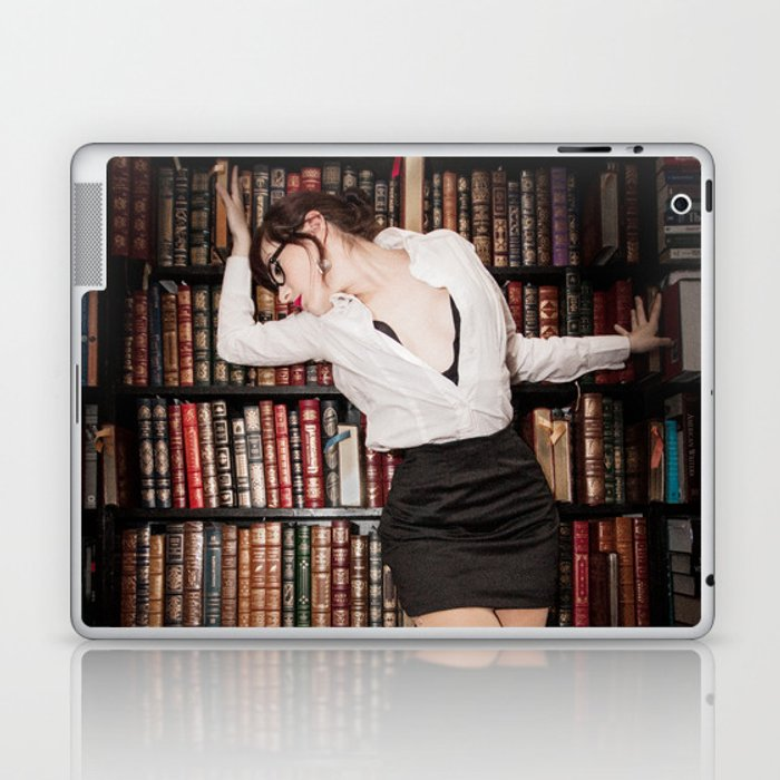 """Hot for Reading"" - The Playful Pinup - Sexy Librarian Pin-up Girl by Maxwell H. Johnson Laptop & iPad Skin"