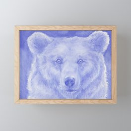 Blue Bear Watercolor Framed Mini Art Print