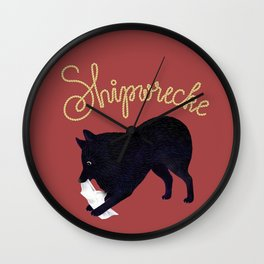 Shipwrecke (Red and Beige) Wall Clock