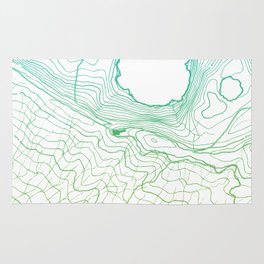 Secret places II - handmade green map Rug