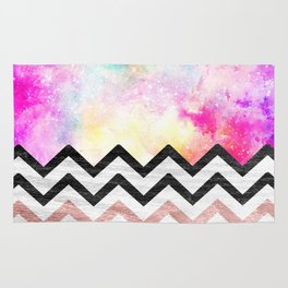 Watercolor nebula space pink ombre wood chevron pattern Rug