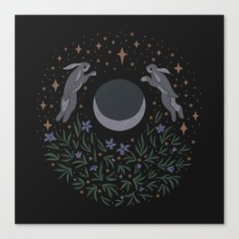 Hares and the Moon Canvas Print