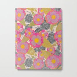 Floating Flowers in Purple and Gray Metal Print