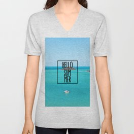 Hello Summer Typography with Turquoise Ocean Unisex V-Neck