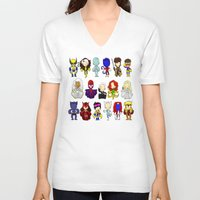 x men V-neck T-shirts featuring X MEN GROUP by Space Bat designs