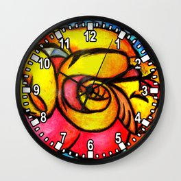 A Seeping ladle in yellow Wall Clock
