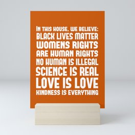 In This House We Believe Print - Burnt Orange Mini Art Print