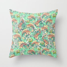 Golden Koi Fish in Pond Throw Pillow