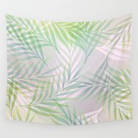 palm Wall Tapestries featuring Palm Leaves by Klara Acel