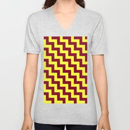 Electric Yellow and Burgundy Red Steps LTR Unisex V-Neck