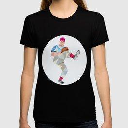 Baseball Pitcher Outfielder Throw Leg Up Low Polygon T-shirt