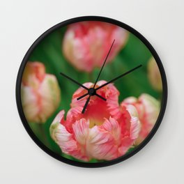 Orange Parrot Tulips Wall Clock