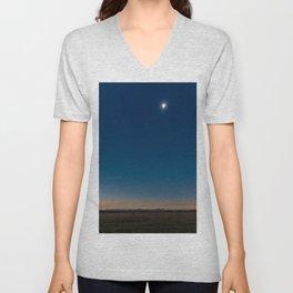 Solar Eclipse Totality Over Grand Tetons Unisex V-Neck