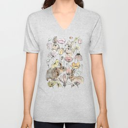 rabbits and flowers with color Unisex V-Neck