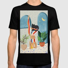 Headstand, Cat Yoga, Active Woman Workout, Eclectic Colorful Pets Terrazzo T-shirt