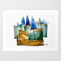 castle Art Prints featuring Castle by Irina  Mushkar'ova