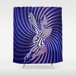 0474s-MM Sensual Woman on Knees Abstract Nude Figure Op Art Blue Topographic Feminine Power Revealed Shower Curtain