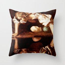 Michelangelo Merisi da Caravaggio, Narcissus at the Source, oil on canvas, 1597-99 Throw Pillow