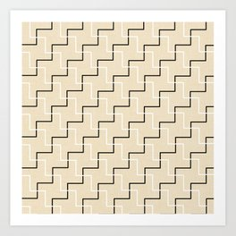 Geometrical black white ivory modern chevron Art Print