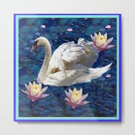 White Swan & Peach Water Lilies Blue Art Metal Print
