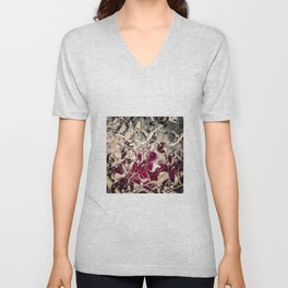 Dark Magenta Vintage Distressed Abstract Unisex V-Neck