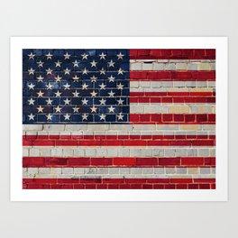 America flag on a brick wall Art Print