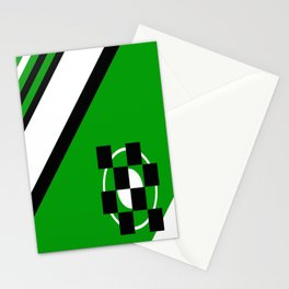 Simplicity - Green, black and white, geometric, abstract Stationery Cards