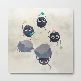 Spirited away - Susuwatari Creatures illustration - Miyazaki, Studio Ghibli Metal Print
