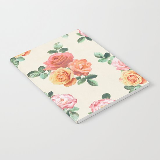 Retro Peach and Pink Roses Notebook