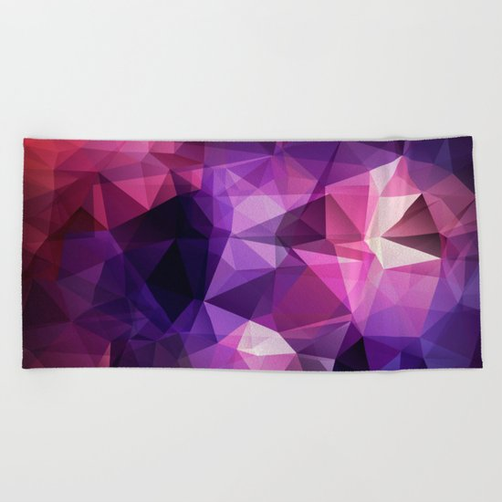 Abstract background of triangles polygon design bright colors Beach Towel