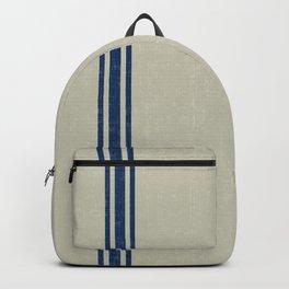 Vintage Country French Grainsack Blue Stripes Linen Color Background Backpack