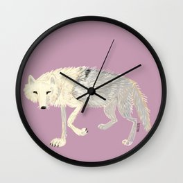 Wolves of The world: Artic Wolf (Canis lupus arctos) (c) 2017 Wall Clock