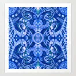 Curves & Lotuses, Abstract Arabesque, Royal Blue White Art Print