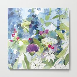 Blue Wild Flowers with Thistles and Daisies Metal Print