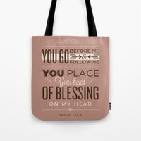 bible verses Tote Bags featuring Psalm 139:5 Bible Verses by Tony D'Amico