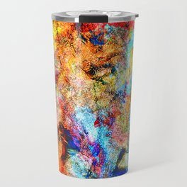 abstract drawing by hand oil paints. background, texture Travel Mug