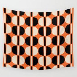 Mid Century Modern Geometric Pattern 138 Beige Orange and Black Wall Tapestry