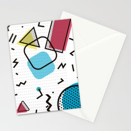 Memphis Throwback Retro Blue 1990s 90s Trendy Hipster Pattern Eighties Shapes Stationery Cards