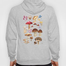 Watercolor forest mushroom illustration and plants Hoody