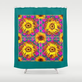 Golden Sunflowers In Teal-Fuchsia Abstracted Patterns Shower Curtain