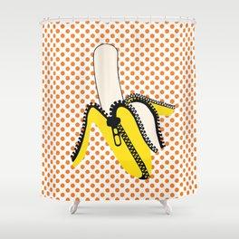 Pop Art Yellow Banana Zipped Shower Curtain